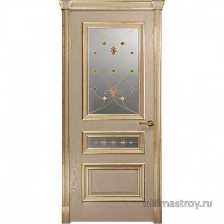 Межкомнатные двери Джувара-2-2 Слоновая кость с патиной ДО 900 x 2000 мм